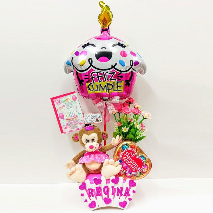 Monita De Peluche Con Caja De Chocolates Arreglo Floral Y Globo